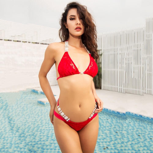 Deep in the Feels Red Crystal Bikini Swimsuit - Fashion Genie Boutique