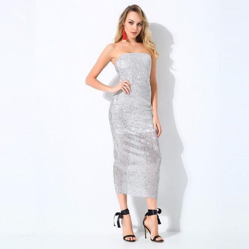 Glam Doll Silver Strapless Midi Dress - Fashion Genie Boutique