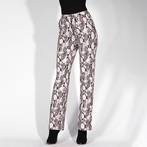 Take It Easy Grey Snake Print Skinny Pants