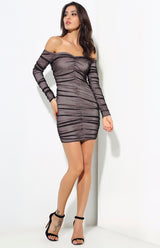 Stunner Love Black Ruched Bardot Mini Dress - Fashion Genie Boutique USA Alt