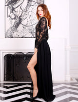 Highness Black Sequin Embellished Chiffon Maxi Dress - Fashion Genie Boutique