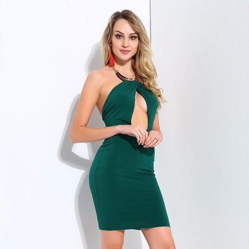 Take Me To The Halter Green Mini Dress - Fashion Genie Boutique