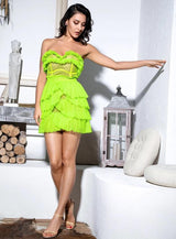 Neon Fever Green Mesh Ruffle Mini Dress