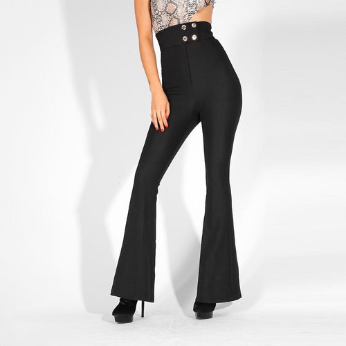Wake Me Up Black High Waisted Flare Trousers - Fashion Genie Boutique