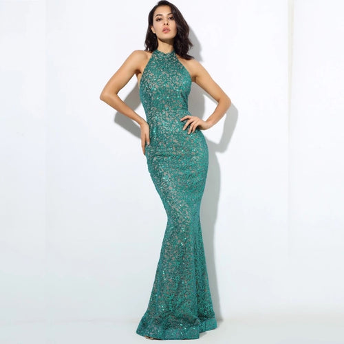 Upon A Dream Green Glitter Embellished Maxi Dress - Fashion Genie Boutique USA Alt