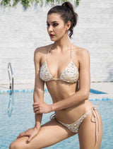 Beach Angel Nude Rhinestone Embellished Bikini Swimsuit - Fashion Genie Boutique