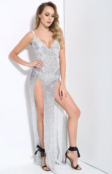 Iconic Silver Sequin Double Split Maxi Party Gown Dress - Fashion Genie Boutique