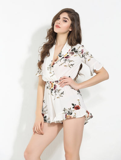 Koko White Floral Romper - Fashion Genie Boutique USA Alt