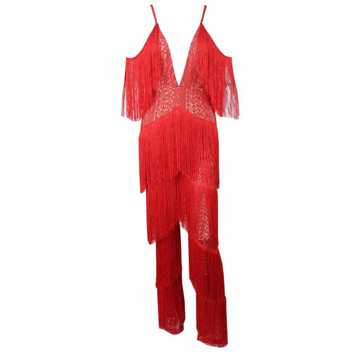 Lasting Impressions Red Deep Plunge Tassel Fringed Jumpsuit - Fashion Genie Boutique