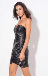 Hot in Here Black Studded Faux Leather Mini Dress - Fashion Genie Boutique USA Alt