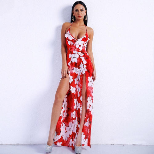 Fashion Crowd Red Multi Floral Jumpsuit - Fashion Genie Boutique
