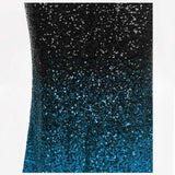 Heartical Blue & Black Sequin Gradient Fishtail Maxi Gown Dress - Fashion Genie Boutique