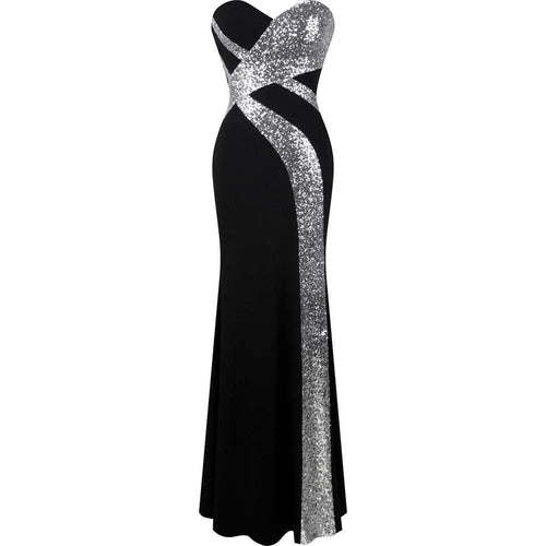 Dazzling Diva Black & Silver Strapless Sequin Maxi Gown Dress - Fashion Genie Boutique