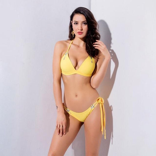 Beach Babe Yellow Rhinestone Embellished Bikini Swimsuit - Fashion Genie Boutique