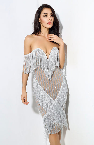 Lovefool Silver Bardot Fringe Glitter Midi Dress - Fashion Genie Boutique USA Alt