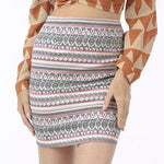 Reyna Multi Aztec Mini Skirt - Fashion Genie Boutique