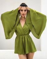 Nice N Teasy Green Long Sleeve Floaty Romper - Fashion Genie Boutique USA Alt