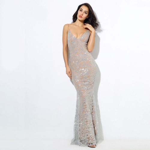 Sweet Delight Silver Glitter Plunge Maxi Gown Dress - Fashion Genie Boutique USA Alt