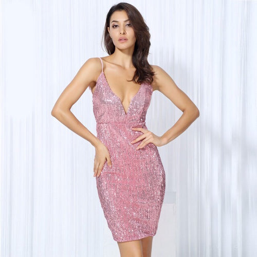 Weekend Fun Pink Sequin Mini Dress - Fashion Genie Boutique USA Alt