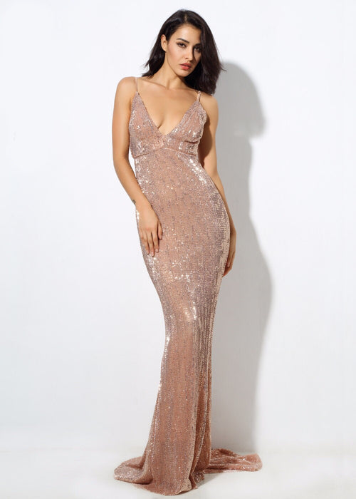 87c8ecddfae Goal Digger Champagne Embellished Sequin Maxi Party Gown Dress - Fashion  Genie Boutique USA Alt
