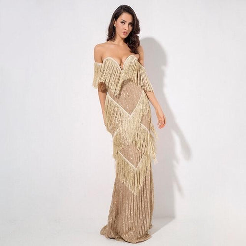 Graceful Grandeur Gold Bardot Fringe Sequin Maxi Dress - Fashion Genie Boutique USA Alt