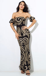 Senorita Black & Gold Sequin Bardot Maxi - Fashion Genie Boutique USA Alt