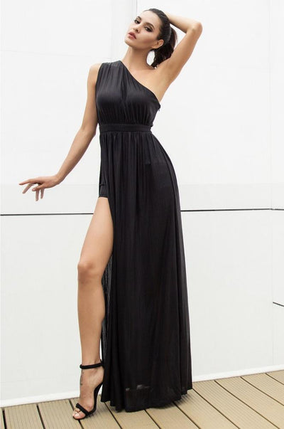 Dream Day Black Lace Asymmetric Satin Maxi Dress - Fashion Genie Boutique