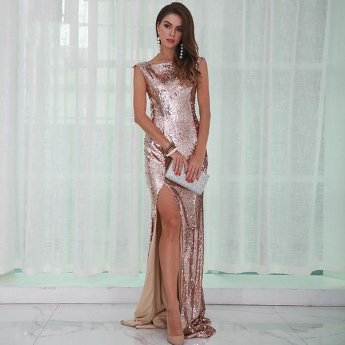 Everlasting Gold Sequin Split Maxi Dress - Fashion Genie Boutique