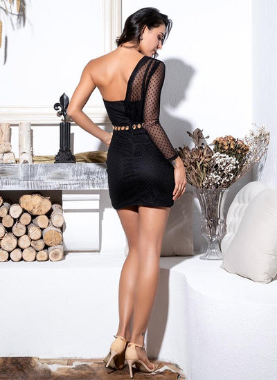 In It For The Fame Black Mesh Mini Dress