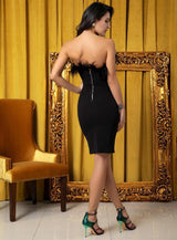 Kissing In Cannes Black Strapless Feather Mini Dress