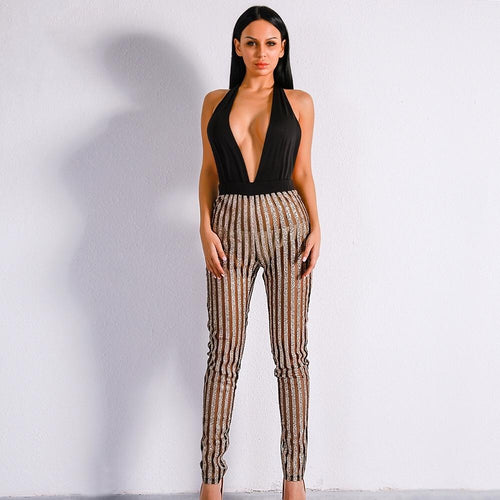 Miami Nights Black & Gold Embellished Jumpsuit - Fashion Genie Boutique