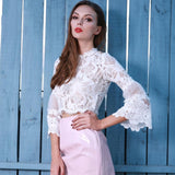 Lace and Love White Long Sleeve Crop Top - Fashion Genie Boutique USA Alt