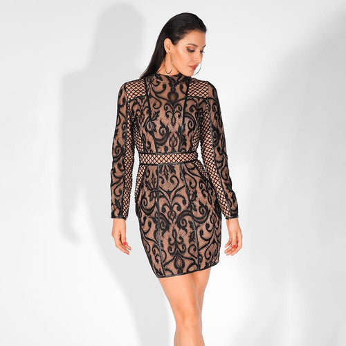 Close To Perfect Black Lace Long Sleeve Mini Dress - Fashion Genie Boutique