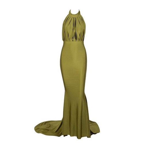 Pop Star Olive Pleated Maxi Fishtail Gown Dress - Fashion Genie Boutique