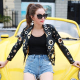 Royce Black Faux Leather Eyelet Cropped Jacket - Fashion Genie Boutique