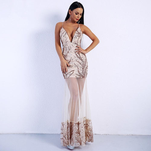 Always & Forever Rose Gold Sheer Lace Sequin Maxi Dress - Fashion Genie Boutique