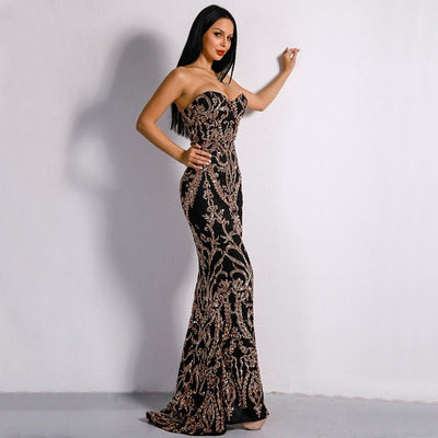 Canterbury Black & Gold Sequin Strapless Maxi Dress - Fashion Genie Boutique USA Alt