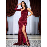 Feeling Chic Red Sequin Long Sleeve Split Maxi Gown Dress - Fashion Genie Boutique