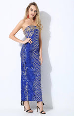 A Long Affair Blue & Gold Sequin Stapless Maxi Dress - Fashion Genie Boutique