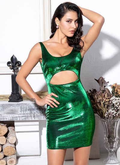 Hey Shorty Green Cut Out Reflective Mini Dress
