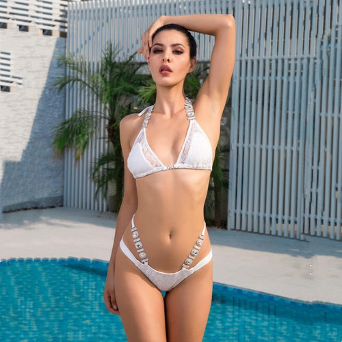 Deep in the Feels White Crystal Bikini Swimsuit - Fashion Genie Boutique