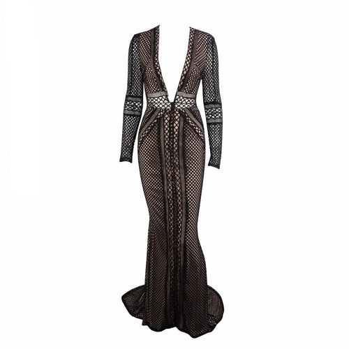 Spiffed Up Black Long Sleeve Plunge Maxi Dress - Fashion Genie Boutique