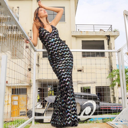 Mexican Wave Black Iridescent Sequin Maxi Fishtail Dress