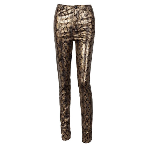 Snake Bite Gold PU Leather Trousers - Fashion Genie Boutique