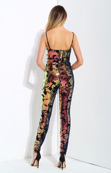 Love Lockdown Navy Iridescent Sequin Jumpsuit - Fashion Genie Boutique USA Alt