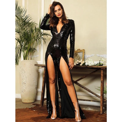 Not My Problem Black Sequin Long Sleeve Double Split Jumpsuit - Fashion Genie Boutique