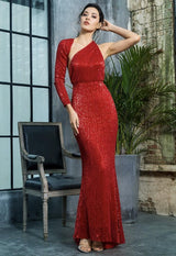 Luxury Night Red Sequin One Shoulder Maxi Gown Dress