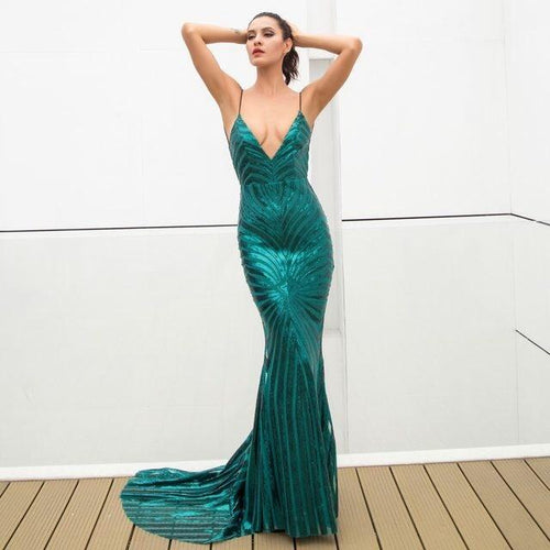 Ecstasy Green Plunge Sequin Maxi Fishtail Gown Dress - Fashion Genie Boutique