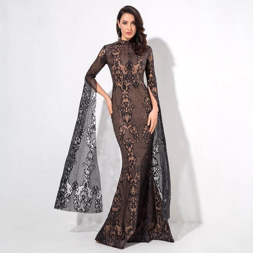 Once Upon A Time Black Glitter Fishtail Maxi Dress - Fashion Genie Boutique