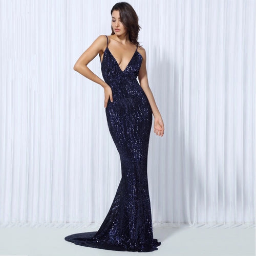 Goal Digger Navy Embellished Sequin Maxi Gown Party Dress - Fashion Genie Boutique USA Alt